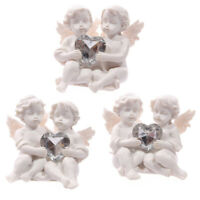 Collectable Cute Cherub Couple Holding Silver Gem Heart Gift Love Loss x 3 Angel