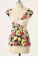 Yoana Baraschi Top Size XS Anthropologie Womens Multicolor Floral Rosette Blouse