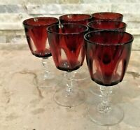 set of 6 MCM  Base Liqueur Cordial Sherry Port shot Glasses VTG ruby red clear