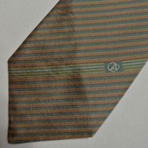 "Skinny Vintage Green Peach Striped Silk Tie 3"" Wide"