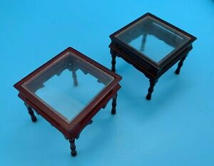 """DOLLS' HOUSE MINIATURES - TWO """"GLASS"""" TOPPED OCCASIONAL TABLES - 12th SCALE"""