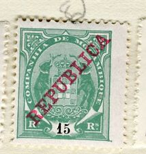 PORTUGUESE MOZAMBIQUE;  1911 early REPUBLICA issue Mint hinged 15r. value