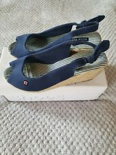 Blue Comfortable Summer Wedges, Size 7, Platforms
