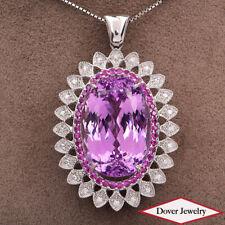 Estate Diamond 53.16ct Kunzite Ruby 18K Gold Large Floral Pendant 25.6 Gr NR