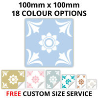 Tile Stickers For Kitchen Bathroom 100mm x 100mm 18 Colours - Custom sizes - T19