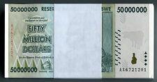 Zimbabwe 50 Million Dollars x 100pcs AA 2008 P79 bundle consecutive UNC currency