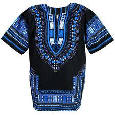 Cotton African Dashiki Mexican Poncho Hippie Tribal Shirt Blouse Black Ad14s