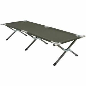 Highlander Aluminium Military Army Camping Festival Folding Camp Bed Olive
