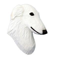 Borzoi Head Plaque Figurine White