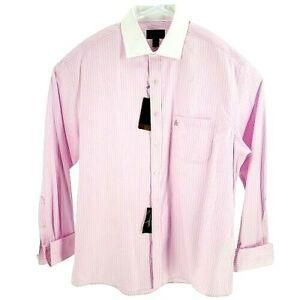 Tasso Elba Mens Dress Shirt Regular Fit Pink Striped French Cuff Non Iron NEW
