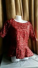 THE PRETTY DRESS COMPANY FAB RED CHRISTMAS PARTY SEQUINNED PEPLUM TOP SIZE UK12