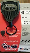 "Key-bak SUPER48 (Model S48K) self retracting key reel 48"" Kevlar cord, belt clip"