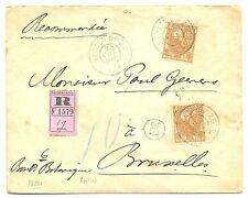 NEDERLAND 1906 REG CV-GR=BERGEN OP ZOOM =  # 64 ( 2 x ) TO BELGIUM FINE !!