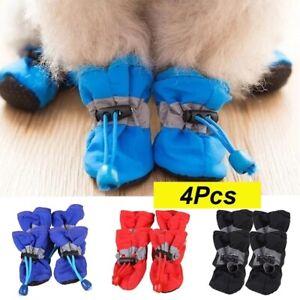 4pcs Waterproof Winter Pet Dog Shoes Anti-slip Rain Snow Boots Footwear Warm