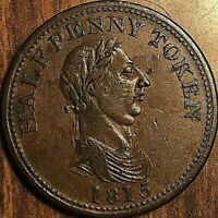 1815 NOVA SCOTIA GENUINE BRITISH COPPER HALF PENNY TOKEN - Large Bust Breton 886