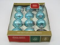 Vintage SHINY BRITE Teal Blue Mercury Glass Ball CHRISTMAS ORNAMENTS Box of 11