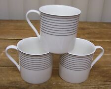 3 Mikasa Latitudes Maxima CAK06 Coffee Mugs Cups Black Rings White Fine China