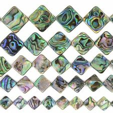 """Natural abalone shell diamond loose beads strand 16"""" 10mm to 20mm"""
