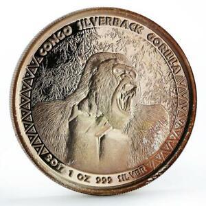 Congo 5000 francs African Wildlife Silverback Gorilla silver coin 2017