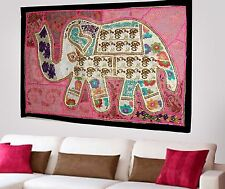 HANDMADE ELEPHANT BOHEMIAN PATCHWORK WALL HANGING EMBROIDERED TAPESTRY INDIA X89