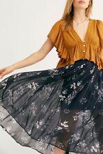 Free People Lydia Printed Skirt Tiger Elastic High Waist Midi Sz Large L New