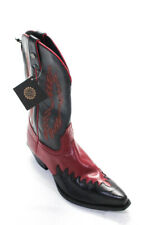 Harley Davidson Womens Leather Pointed Toe Flame Cowboy Boots Black Red Size 8.5