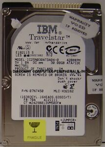"""IC25N030ATDA04-0 IBM 30GB 2.5"""" 9.5MM IDE 44PIN HDD Tested Good Our Drives Work"""