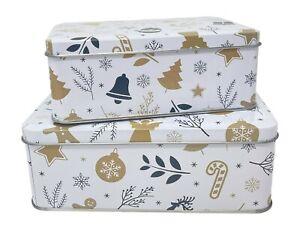2tlg. Keksdosen Set mit Deckel, verschiedenen Größen, rechteckig, ineinander sta