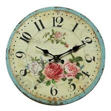 Horloge Murale, Montre avec Motif Rose , Rosenuhr dans Campagne Style 28 CM