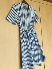 Boden Anastasia Tie Waist Shirt Dress 12R Ivory Cyan