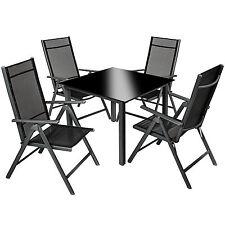Aluminium 4+1 salon de jardin ensemble sièges meubles chaise table en verre gris