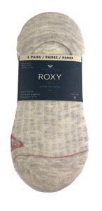 ROXY SUPER NO-SHOW SOCKS 5-PAIRS Women's Heathered Neutral Colors Shoe Size 4-10