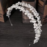 Double-Row Handmade Pearls Crystal Flower Crown Tiaras Princess Bridal Headband