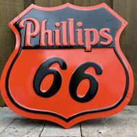 VINTAGE PHILLIPS 66 EMBOSSED METAL SIGN PORCELAIN USA OIL GAS PETROLEUM GARAGE