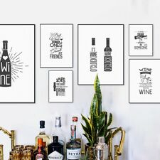 Wine Beer Inspirational Quotes Prints Posters Home Bar Decor Canvas Art Painting