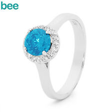 New Classic Blue And Cz Blue Topaz 925 Sterling Silver Ring