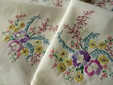 More details for vintage hand embroidered tablecloth/stunning little floral bouquets.