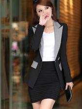 OL Lapel Fitted Color Block Women Blazers - Black