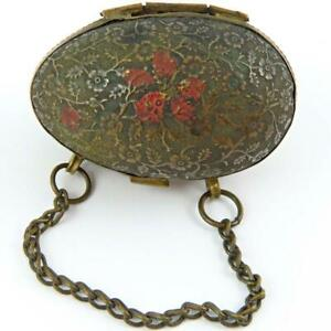 ANTIQUE VICTORIAN FLORAL EMBOSSED BRASS VELVET CHATELAINE THIMBLE HOLDER CASE