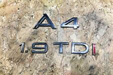 AUDI A4 B6 1.9 TDI S-LINE AVANT REAR BOOT LID CHROME BADGE EMBLEM SIGN LETTERS