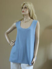 Eileen Fisher MERINO WOOL RIB ICE Light Blue SCOOP NECK TANK 3X NEW NWT $158