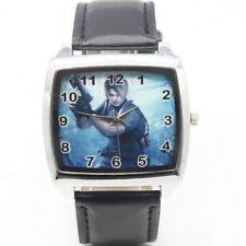 New Resident Evil Leon S Kennedy Leather Quartz Steel Square Wrist Watch Black