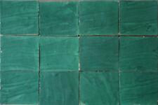 10 Zellige Fliesen grün im Großformat 20x20x2 cm - Handarbeit Wand Kachel Fliese
