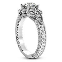 Solitaire Antique .70 Carat SI1/H Round Diamond Engagement Ring White Gold 14K