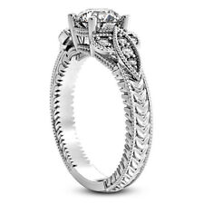 Solitaire Antique .70 Carat SI1/H Round Diamond Engagement Ring White Gold