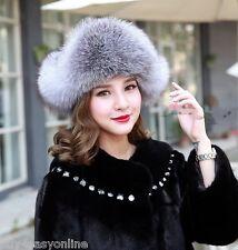 Women Real Fox Fur Hat Russian Style Winter Warm Earflap Cap Snow Hats Women US