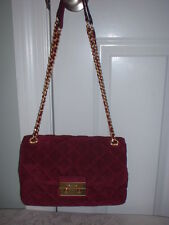 NWT Michael Kors Sloan Large Suede Leather Chain Shoulder Handbag Plum $328