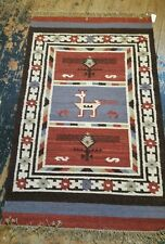 FAIR TRADE FINE WOVEN WOOL BIRD DESIGN KILIM RUG 75cm x 120cm