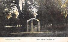 Belmond Iowa~Sunny Side Park~Arch Entrance Gate~Stone Pillars~1910 Postcard