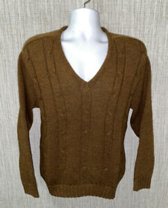 Vtg Brentwood Sportswear Mens Brown Wool/Alpaca V-Neck Sweater Size M